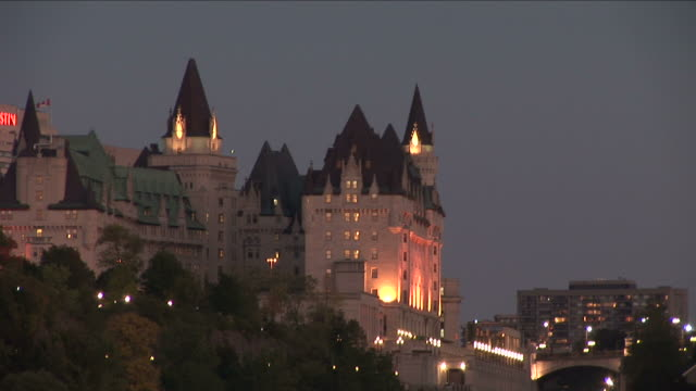 view of parliament hill at night in ottawa canada - parliament hill stock videos & royalty-free footage
