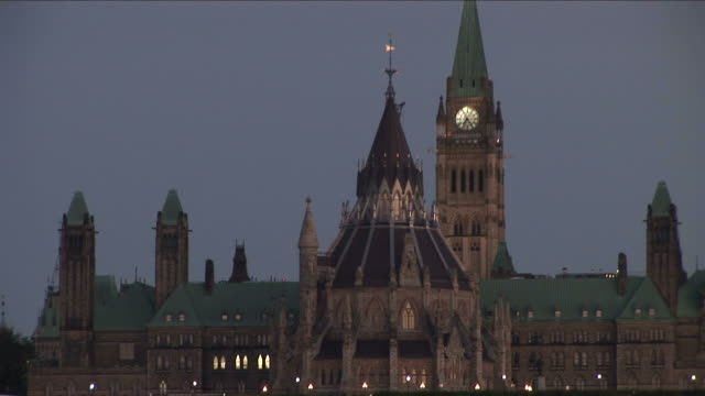 View of Parliament Hill at night in Ottawa Canada
