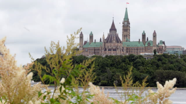 view of parliament hill from ottawa river, canada - parliament hill stock videos and b-roll footage