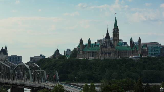 view of parliament hill from ottawa river, canada - politics stock videos & royalty-free footage