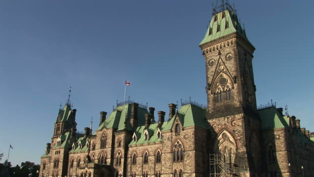 View of Parliament Hill from side in Ottawa Canada