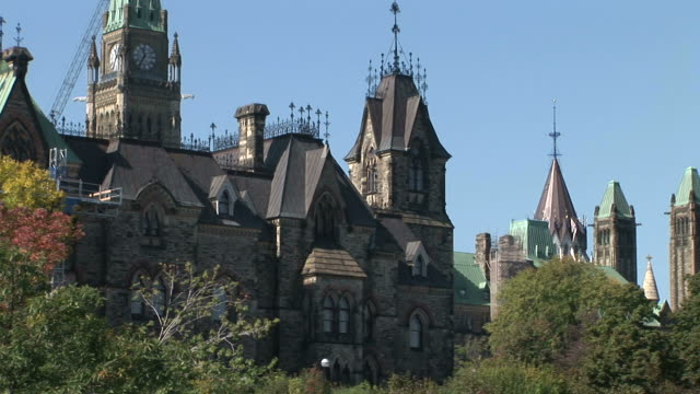 view of parliament hill in ottawa canada - parliament hill stock videos & royalty-free footage