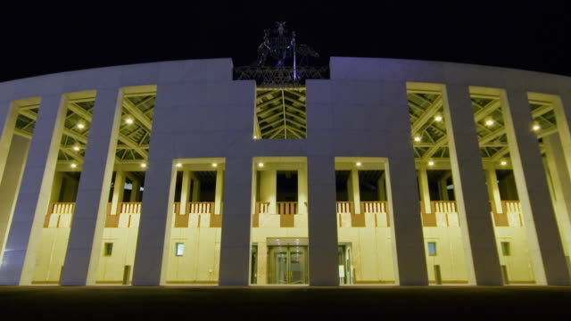 WS T/L ZO View of Parliament House at night, seat of Australian Government/ Canberra, Australian Capital Territory, Australia