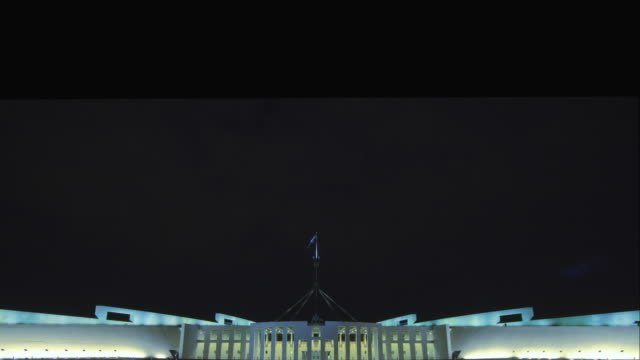 ws t/l td view of parliament house at night, seat of australian government / canberra, australian capital territory, australia - australian politics stock videos & royalty-free footage
