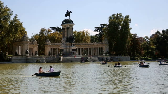 view of parque del buen retiro in madrid, spain - madrid stock videos and b-roll footage