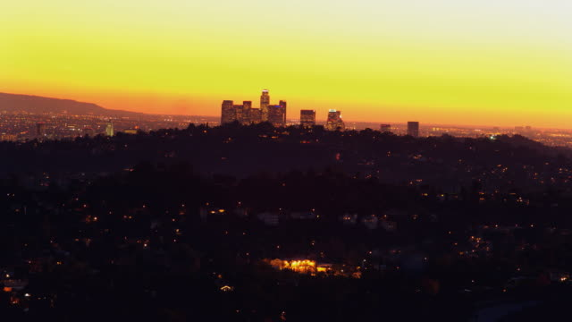 T/L, WS, HA, View of Pasadena at sunset, Los Angeles County, California, USA