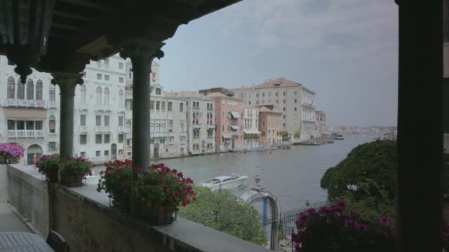 ws view of passenger craft moving in canal, palazzo contarini in background / venice, italy  - passenger craft stock videos & royalty-free footage