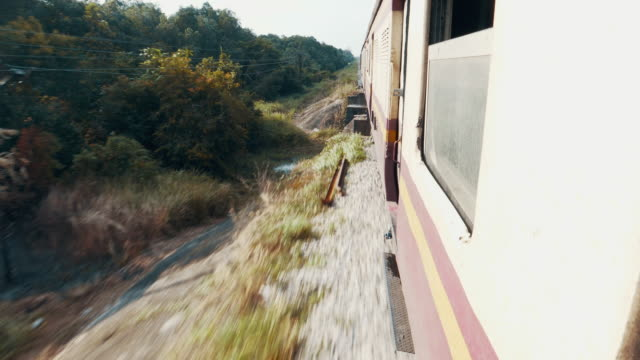 view of passing landscape while traveling by train - train point of view stock videos and b-roll footage