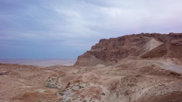 WS PAN View of past amphitheatre at Masada in Negev desert / Israel