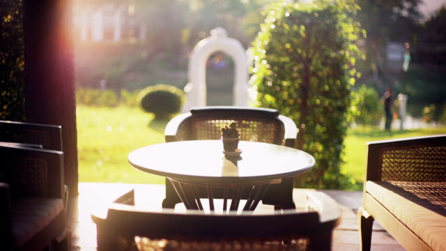 Blick von der Terrasse im Garten mit Gartenmöbeln.