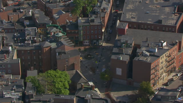WS ZO AERIAL POV View of Paul Revere House with residential district / North End, Boston, Massachusetts, United States