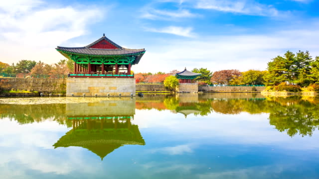 view of pavilion and reflection of water surface at anapji pond in autumn - pavilion video stock e b–roll