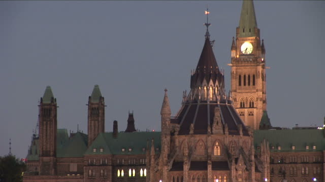 view of peace tower in ottawa canada - parliament building stock videos & royalty-free footage