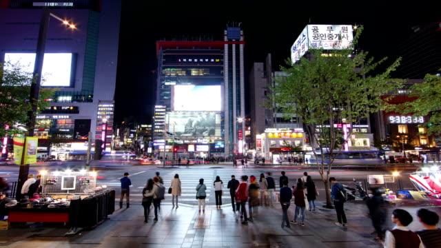View of pedestrian road near Gangnam station at night