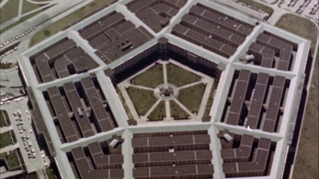 MS AERIAL POV View of pentagon building