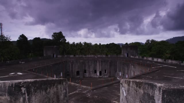view of pentagon fortification in fort belgica, banda island, maluku, indonesia - fortress stock videos & royalty-free footage