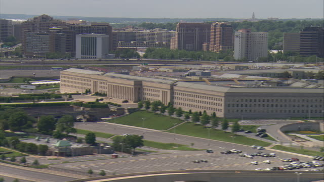 WS AERIAL ZO View of Pentagon with Skyline  / Washington, Dist. of Columbia, United States
