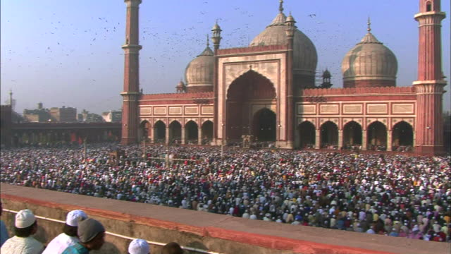 View of people and Jama Masjid mosque