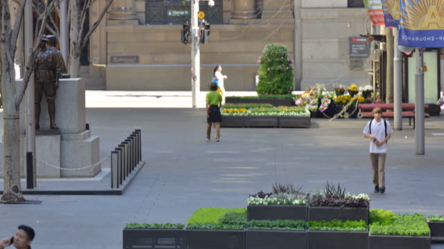 view of people and martin place street in central business district - financial district stock videos & royalty-free footage