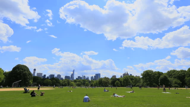 ws t/l pan view of people and moving cloud over fresh green trees and manhattan skyscraper from great lawn at central park / new york, united states  - great lawn stock videos and b-roll footage
