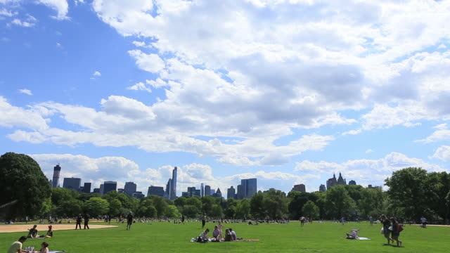 ws pan view of people and moving cloud over fresh green trees and manhattan skyscraper from great lawn at central park / new york, united states  - great lawn stock videos and b-roll footage