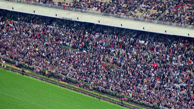 WS AERIAL ZI View of people at Melbourne cup horse racing / Melbourne, Victoria, Australia