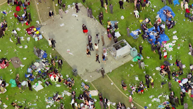 ws aerial slo mo view of people at melbourne cup horse racing / melbourne, victoria, australia - horse racing stock videos & royalty-free footage