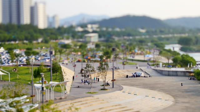 View of people at the Banpo Hangang Park (Popular park in Seoul)