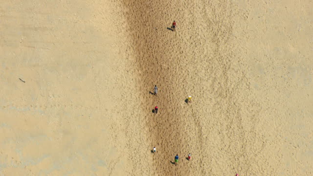 ms aerial zo view of people climbing dune climb andentire sand dune at sleeping bear national lakeshore park / michigan, united state - lakeshore stock videos and b-roll footage