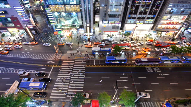 WS View of People crossing and traffic at Gangnam Area at night / Seoul, South Korea