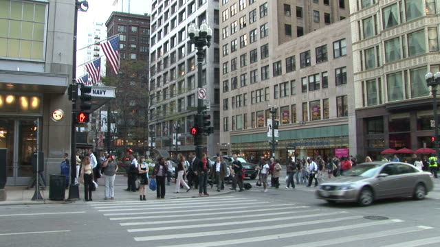 View of people crossing the road in Chicago United States