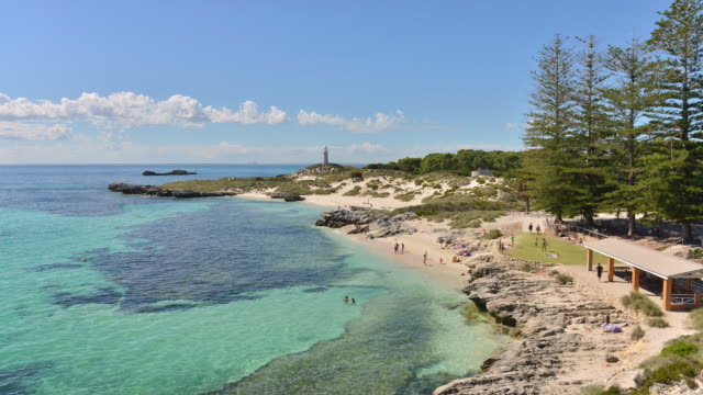 WS T/L View of people enjoying at beach / Perth, Western Australia, Australia