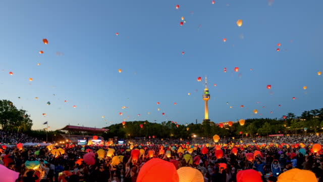 view of people floating their lanterns in daegu lantern festival, south korea - paper lantern stock videos & royalty-free footage