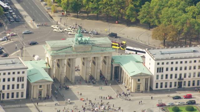 WS AERIAL DS View of people gathering near Brandenburg Gate / Berlin, Germany