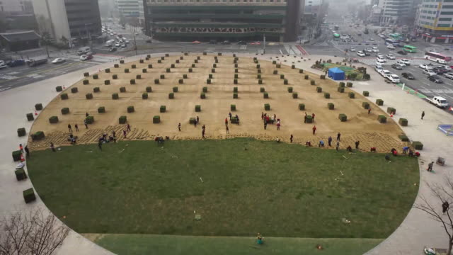 vídeos y material grabado en eventos de stock de view of people laying the artificial grass on the seoul city hall square in seoul, south korea - huerto urbano