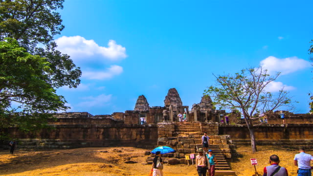 MS PAN T/L View of People moving at east mebon temple and in Siem Reap, Angkor Wat / Angkor, Siem Reap, Province Colombia