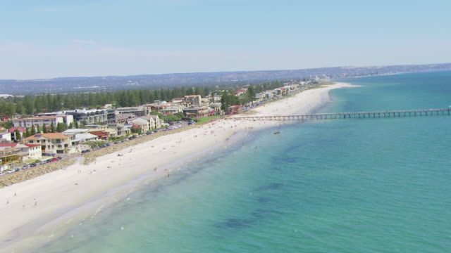 WS AERIAL ZI View of people on beach / Adelaide, Australia