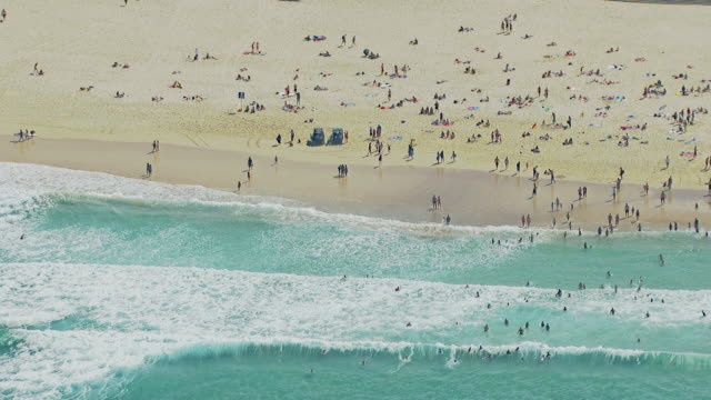 WS AERIAL View of people on beach / Sydney, New South Wales, Australia
