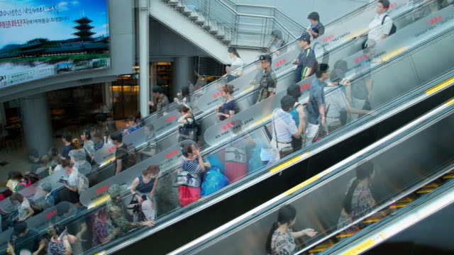 view of people on escalator in bus station, seoul south korea - steps and staircases stock videos & royalty-free footage
