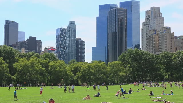 WS PAN View of people on Sheep Meadow and Manhattan skyscraper / New York, United States
