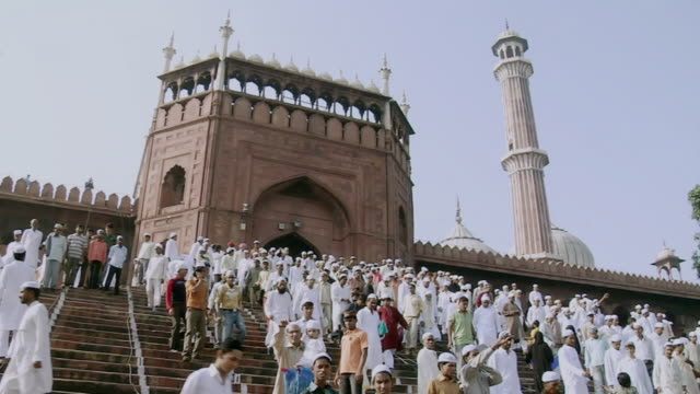 WS View of people outside Jama Masjid / Delhi, India