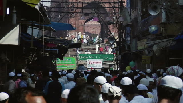 WS ZO View of people outside Jama Masjid / Delhi, India