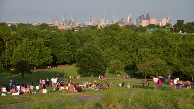 WS T/L View of people relaxing on grass and move on pathway at Primrose Hill / London, Greater London, United Kingdom