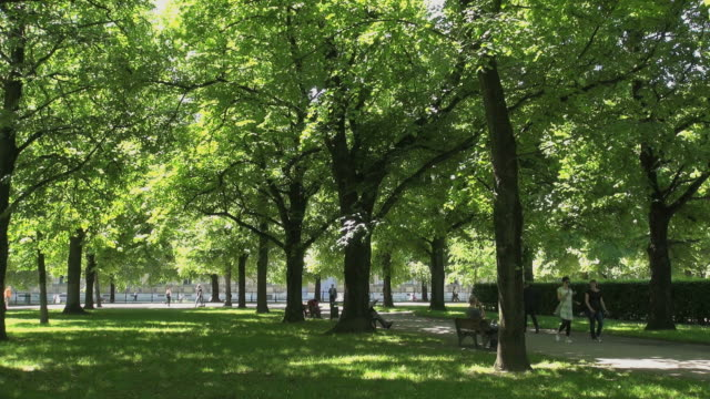 ws view of people relaxing, walking in hofgarten garden / munich, bavaria, germany - gartenanlage stock-videos und b-roll-filmmaterial
