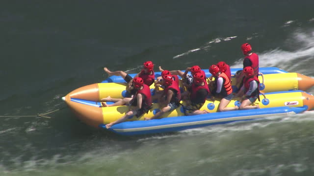 View of people riding banana boat (Best destination for water-sports in Korea)