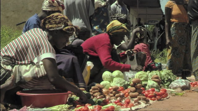 MS View of people selling fruits and vegetables on street / Mozambique