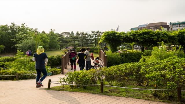view of people strolling at busan un memorial cemetery - besichtigung stock-videos und b-roll-filmmaterial