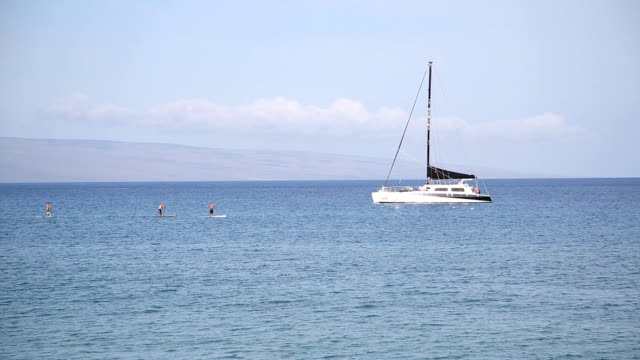 View of people surfing around anchored Yachts and seascape of Hawaii