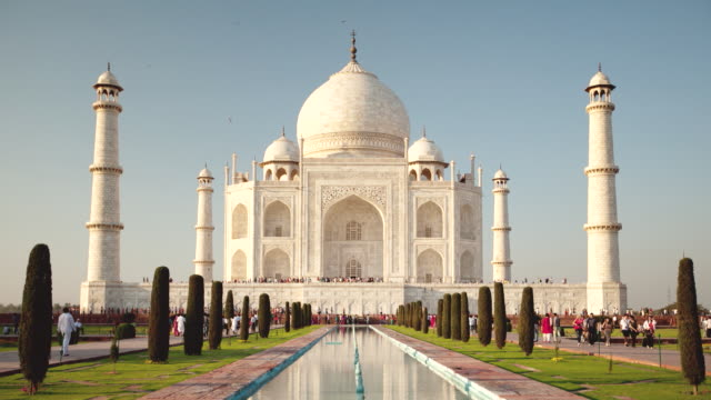 ws t/l view of people walking in front of landmark / agra, uttar pradesh, india - taj mahal stock videos and b-roll footage