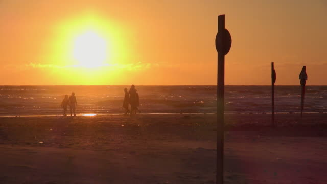ws view of people walking near sea coast during sunset, north sea north frisia, / st. peter ording, schleswig holstein, germany - schleswig holstein stock videos & royalty-free footage